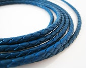Leather Cord 4mm - Iris Blue Round Braided Bolo Genuine Leather Cord ( Hole Inside )