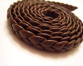 1 Yard of 6mm Camel ( Brown ) Lace Strap Genuine Flat Braided Leather Cord