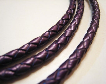 Leather Cord 4mm - Violet Round Metallic Braided Bolo Genuine Leather Cord ( Hole Inside )