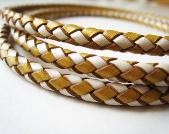 Leather Cord 5mm - Gold and White Round Braided Bolo Genuine Leather Cord ( Hole Inside )