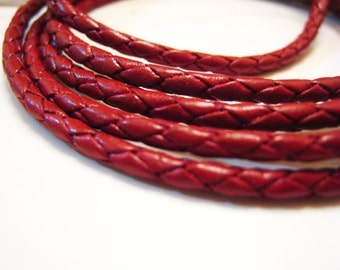 1 Yard of 2mm Moroccan Red Round Braided Bolo Leather Cord