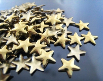Finding - 20 pcs Gold Star Rhinestone Flatback Hotfix 8mm