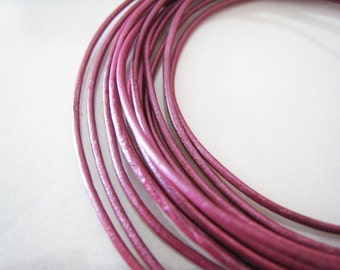 2 Yards of 1.5mm Rose Pink Metallic Round Leather Cord