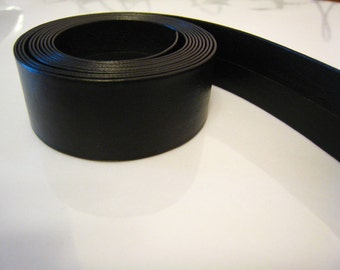 1 Yard of 20mm Black Jet Lace Strap Genuine Flat Leather Cord