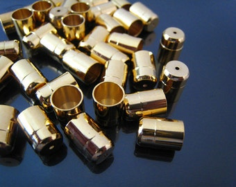 Finding - 6 pcs Gold Leather Cord Ends Cap For Round Leathers 11mm x 8mm ( Inside 7mm Diameter )