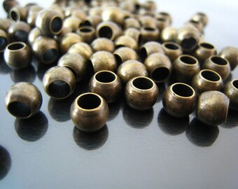 Finding - 20 pcs Antique Brass Round Ball Spacers Beads with Large Hole ( 6mm x 5mm )