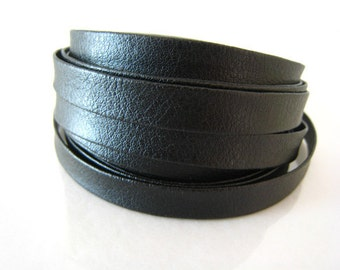 3 Yards of 7.5mm Jet ( Black ) Lace Strap Genuine Flat Leather Cord