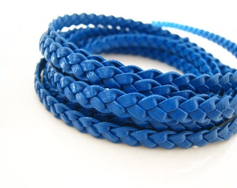1 Yard of 6mm Blue Lace Strap Genuine Flat Braided Leather Cord