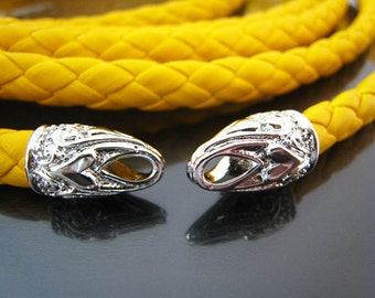 2pcs Silver End Caps 7mm - Findings Silver Leather Cord Ends Cap with Loop Noble Heart Love Palace Pattern 17mm x 10mm