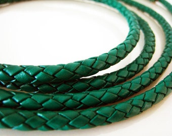 Half Yard of 5mm Emerald Green Round Braided Bolo Genuine Leather Cord