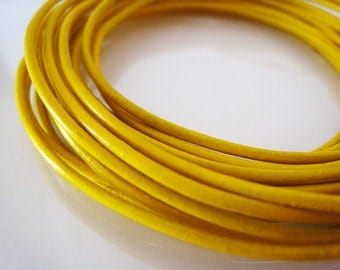 Leather Cord 1mm - 2 Yards 1mm Yellow Round Genuine Leather Cord