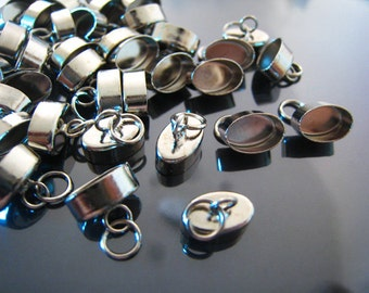 Finding - 10 pcs Silver Oval Shape Ends Cap with Loop with Open Jump Ring for Round Leather 11mm x 8mm x 7mm ( Inside 10mm x 6mm )