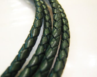 1 Yard of 3mm Green Round Braided Bolo Leather Cord