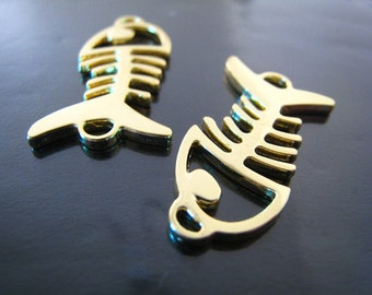 Finding - 2 pcs Gold Fish Bone Shape Pendant Charm with Two Loops 28mm x 15mm