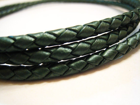 Leather Cord 4mm - Green Round Metallic Braided Bolo Genuine Leather Cord ( Hole Inside )