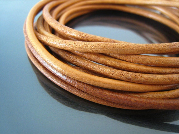 1 Yard of 3mm Natural Brown Genuine Round Leather Cord