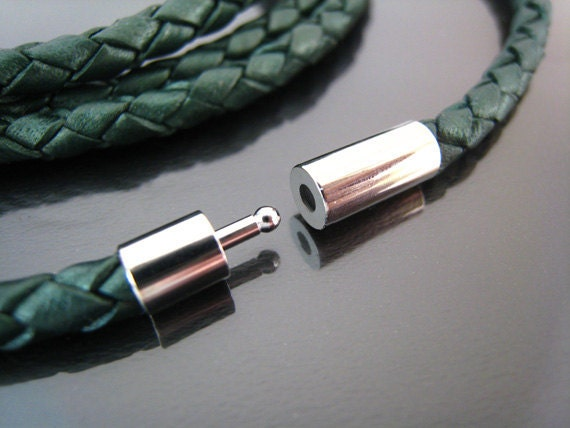 Leather Clasp - 2 Sets Finding Silver Open Round  Buckle Ends Clasp Connector 17mm x 5mm ( Inside 4mm Diameter )