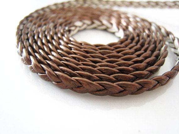 1 Yard of 4mm Metallic Brown Braided Genuine Flat Leather Like Cord