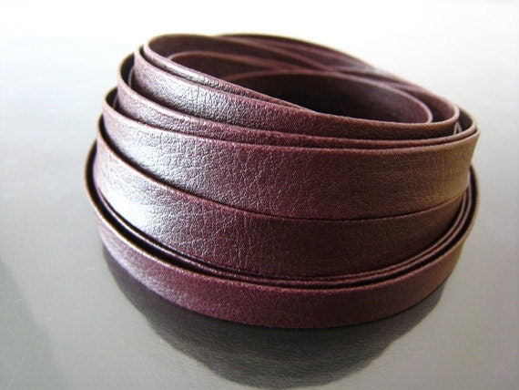 1 Yard of 9mm Red Brown Lace Strap Genuine Flat Leather Cord