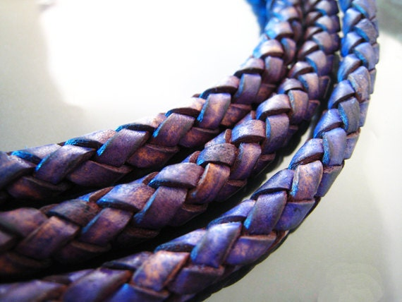 Leather Cord 8mm - Vintage Violet Purple Round Braided Bolo Genuine Leather Cord