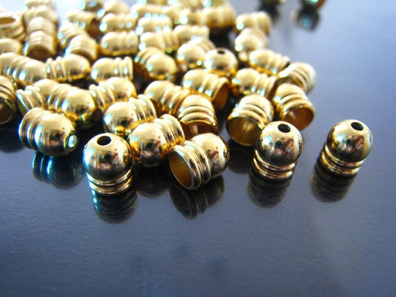 End cap - 10 pcs Gold or Silver Dome Round Tone Leather Cord  For Round Leathers 6mm x 5mm ( Inside 4mm diameter )
