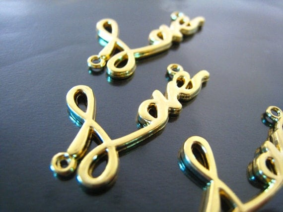 "Finding - 2 pcs Gold "" Love "" Word Shape Pendant Charm with Two Loops 30mm x 15mm"