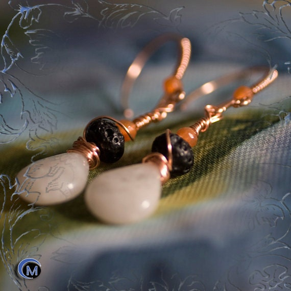 White Chalcedony Black Coral Orange Agate and Copper Earrings