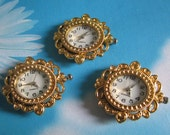 1pc gold filigree flower round watch face charms--moving--battery included