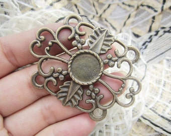 10pc 51.3x40mm antiqued bronze filligree round cabochon/cameo base setting