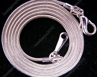 12pc 16 inch silver plated 1.2mm shiny snake chain necklace