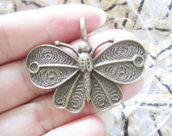 10pc 32x42mm antiqued bronze butterfly pendants