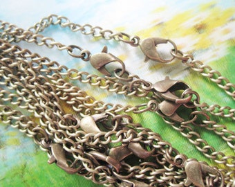 10pc 16 inch antiqued bronze flat cable chain necklace---very strong