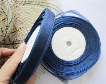 1 roll(50 yards) 10mm width navy blue voile organa ribbon