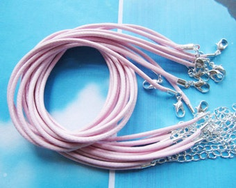 Promotion Sale--25 pieces 16-18 inch light pink korea leather necklace cords including silver plated lobster clasps and extention chains