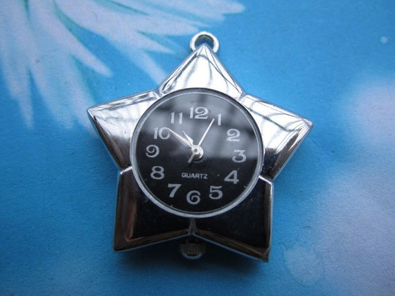 1pc  silver Lucky star watch face charms--no battery