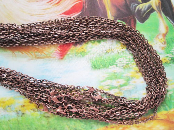 10pc 18 inch antiqued copper plated flat cable chain necklace---very strong