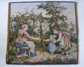 Reserved - CollecteclectiC -VINTAGE French Tapestry Panels, Mom w Baby and Garden Family Scene