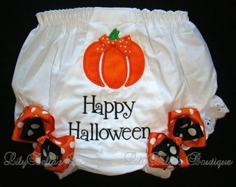 Baby girl monogrammed orange and black pumpkin bloomers or diaper cover - Happy Halloween