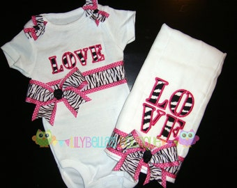 "Baby girl monogrammed onesie and burp cloth gift set - Pink & Zebra ""Love"""
