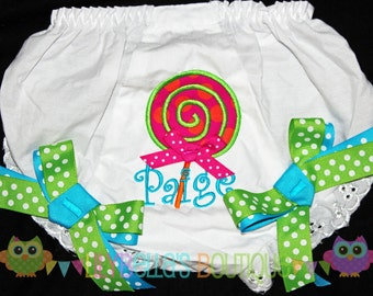 Baby girl monogrammed embroidered bloomers - Multi Colored Lollipop Birthday Bloomers