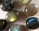 12 pieces Labradorite Cabochons 12mm x 10mm every piece has Flash   ETLab007