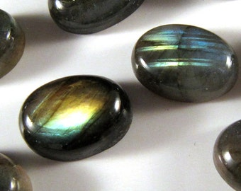 12 pieces Labradorite Cabochons 14mm x 10mm EVERY PIECE has FLASH    ETLab004