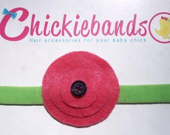 Watermelon Baby Headband Lime Green & Hot Pink