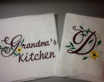 personalized flour sack dish towel, design of your choice, kitchen towels, grandmas kitchen, mom gift, house warming gift