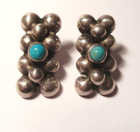 Early 1920 Sterling Signed Silver Mexico Turquoise Multi Half Ball Earrings Fred Harvey Era Vintage