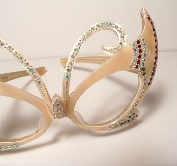Outrageous 1940s Rhinestone Cats Eye Eyeglass Frames Curved Wings Rhinestones France