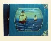 Photo album, travel photo album, navy photo album, book decor, tall ship art, antique design, personalized album, wood bound