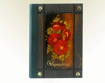 Red flowers art, blank notebook, personalized diary, sketch book, handcrafted journal, hand painted journal,  wooden bound journal