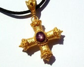 22k gold Star Ruby Greek cross, Square cross, Handcrafted, unique.