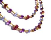 22k solid gold necklace, Ruby, Tanzanite, Amethyst.